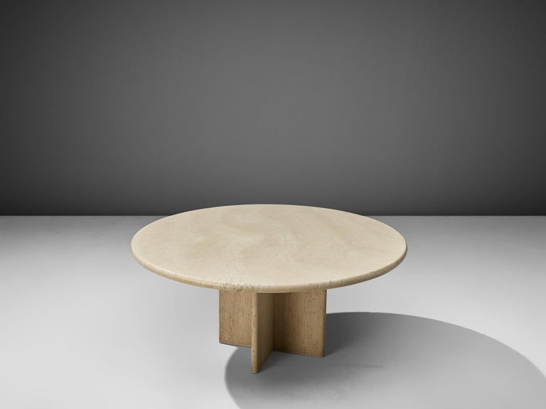 Post-Modern Round Travertine Coffee Table For Sale