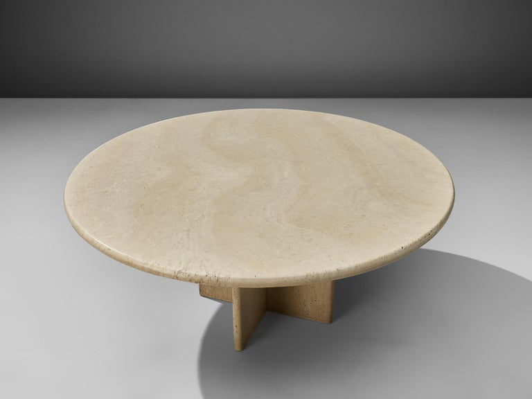 Late 20th Century Round Travertine Coffee Table For Sale