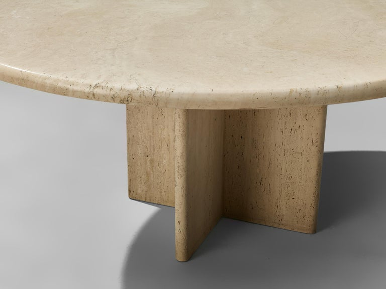 Round Travertine Coffee Table For Sale 1