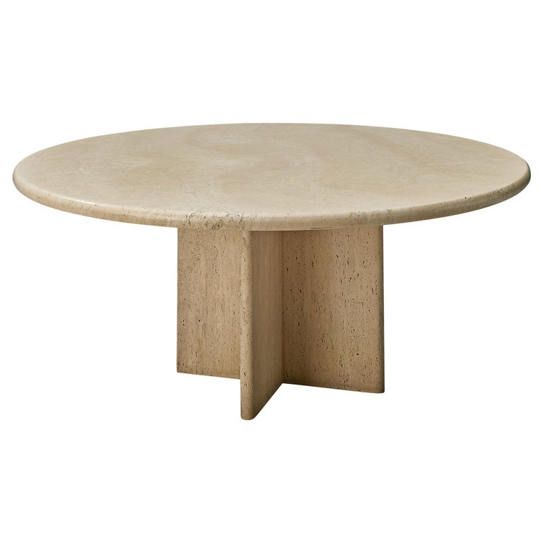 Round Travertine Coffee Table For Sale