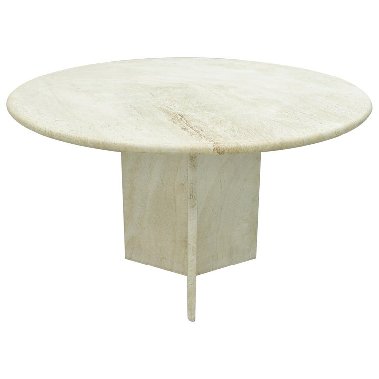 Round Travertine Dining Table, Italy, 1970s