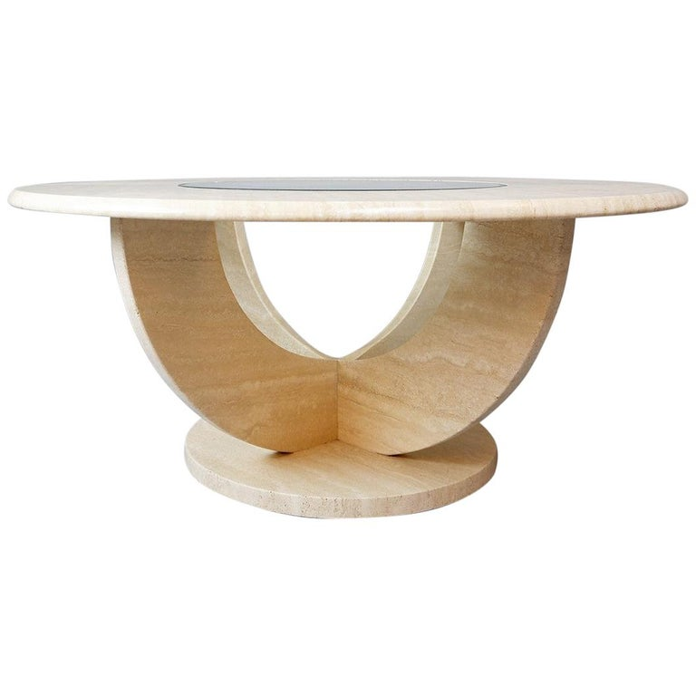 Round Travertine And Glass Coffee Table For Sale At 1stdibs