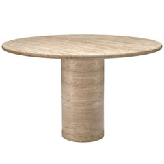 Round Travertine Pedestal Table