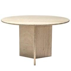 Round Travertine Pedestal Table with Triangular Shaped Base