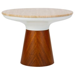 Round Travertine Table by Frank Rohloff for Brown Saltman