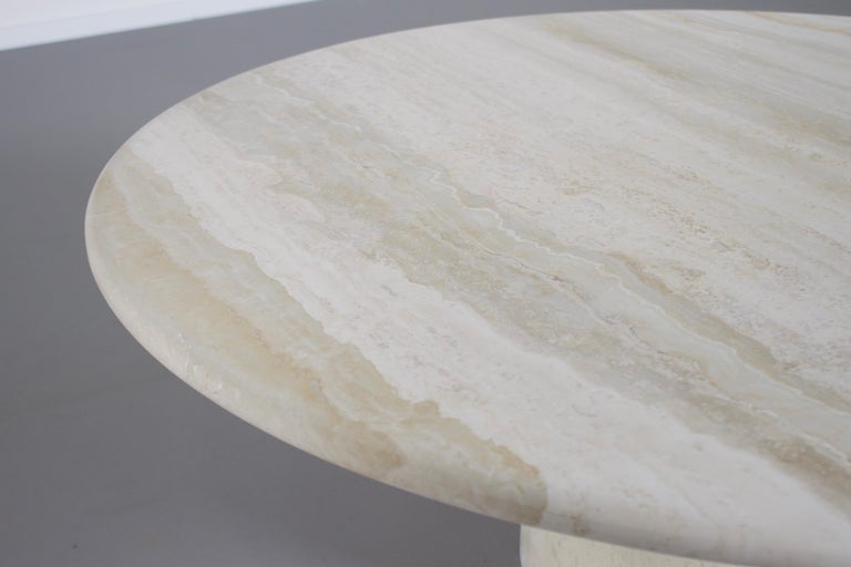 Mid-Century Modern Round Travertine Up&Up Coffee Table, 1970s For Sale