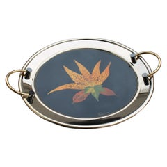 Round Tray in Golden Brass with Black Background and Real Leaves Made in Italy