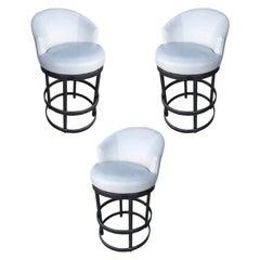 Round Tubular Chrome Bar Stool with Swivel Seat, Set of 3
