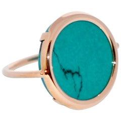 Round Turquoise and Rose Gold 18 Karat Fashion Ring