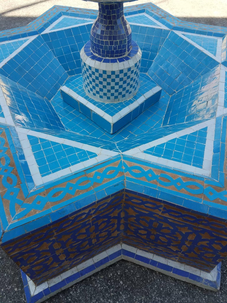 Round Turquoise Moroccan Mosaic Fountain, Marrakech In Excellent Condition For Sale In Orlando, FL