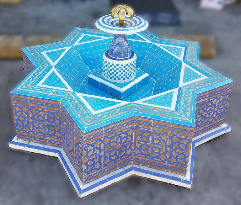 Round Turquoise Moroccan Mosaic Fountain, Marrakech For Sale 1