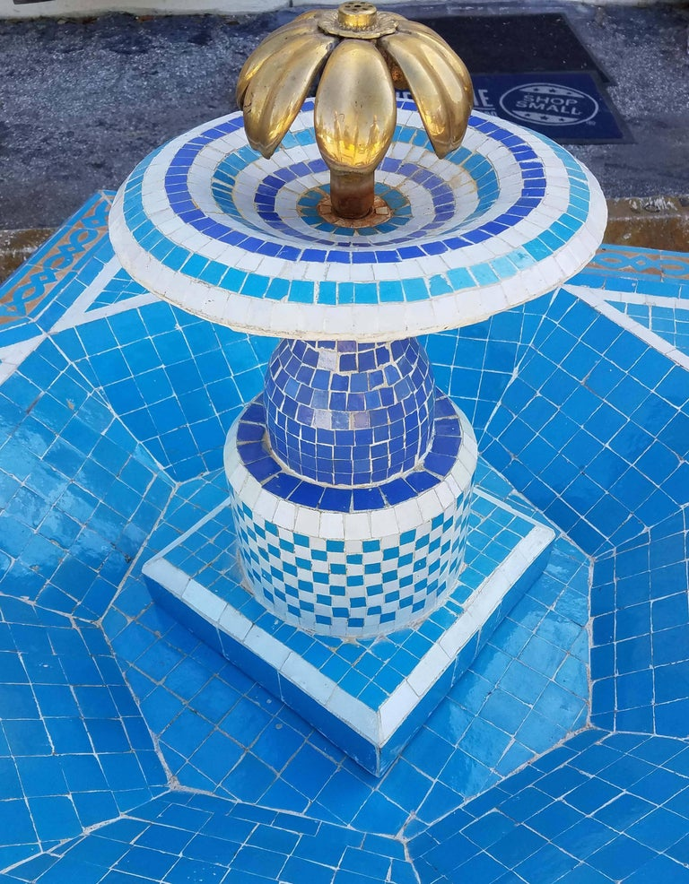 Round Turquoise Moroccan Mosaic Fountain, Marrakech For Sale 2