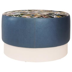 Round Upholstered Ottoman with Lacquered Base Customizable