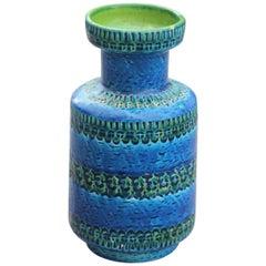 Round Vase Bitossi Blue Cobalt Engravings Carved Green 1960 Italian Design