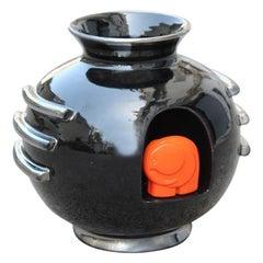 Round Vase Ceramic Art Deco Italian Design Deruta Black Orange Elephant Silver