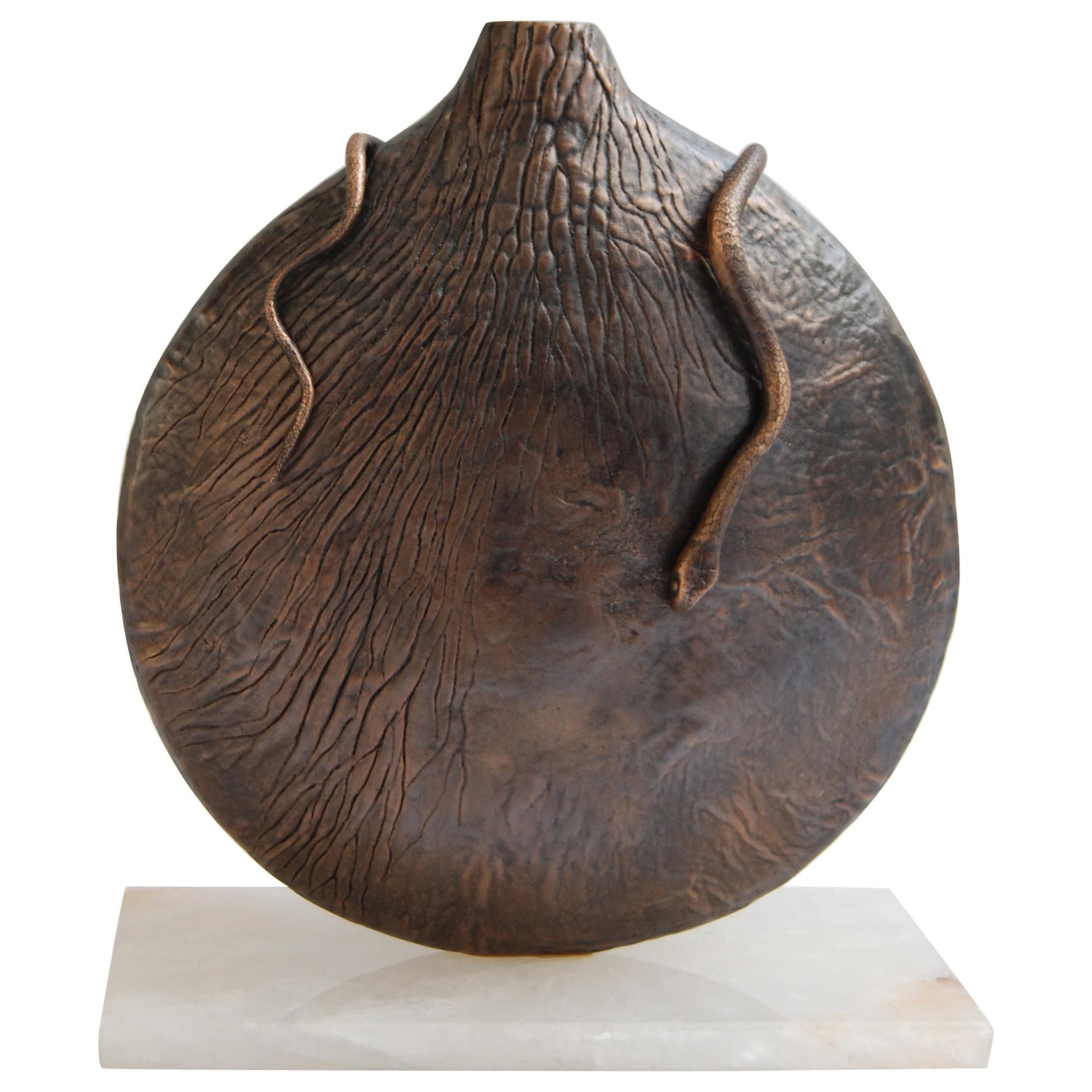 Round Vase in Dark Bronze by FAKASAKA Design