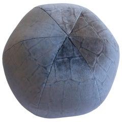 Round Velvet Ball Pillow Blue Embossed Caiman Velvet