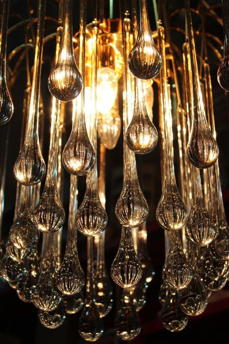 Round Venini Style Big Drops Gold Structure Chandelier Italian Design, 1960s For Sale 6