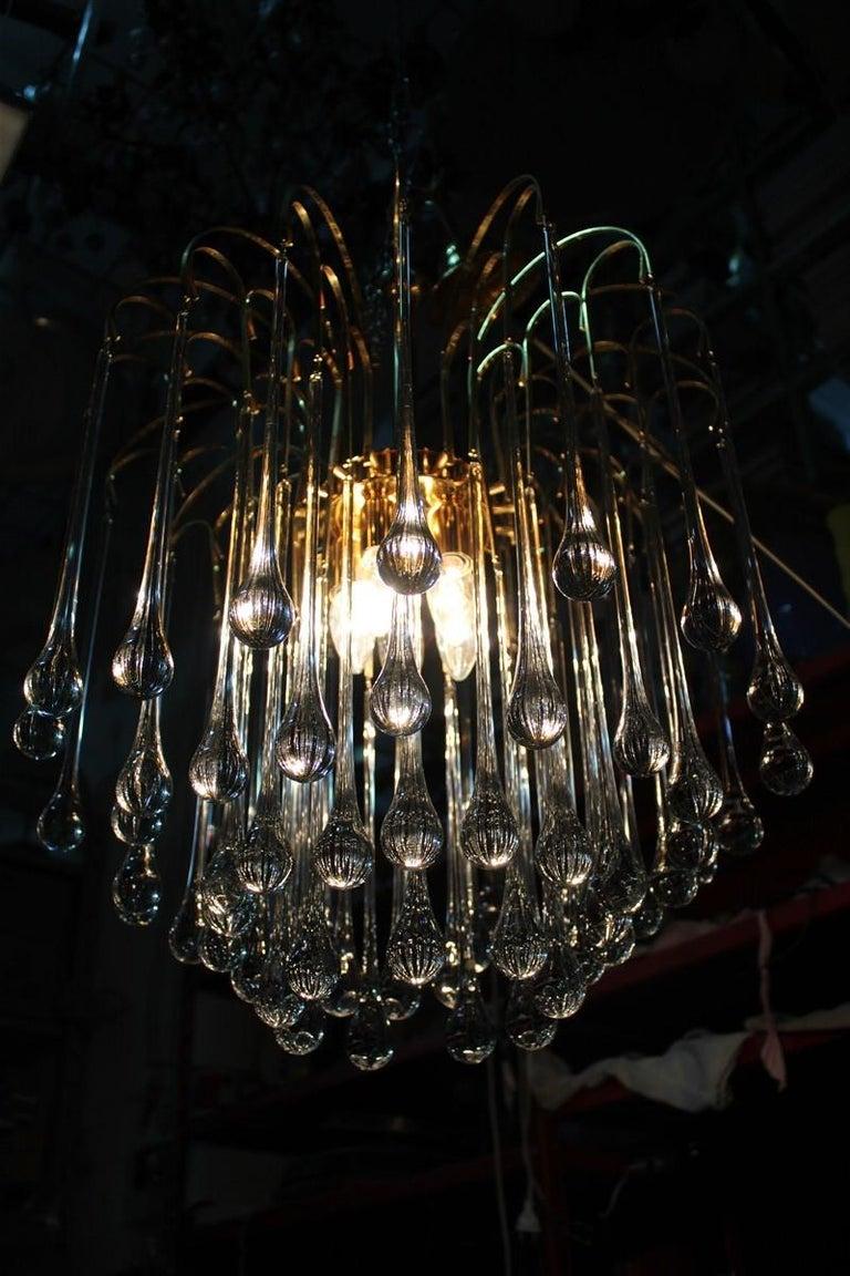 Round Venini Style Big Drops Gold Structure Chandelier Italian Design, 1960s For Sale 8