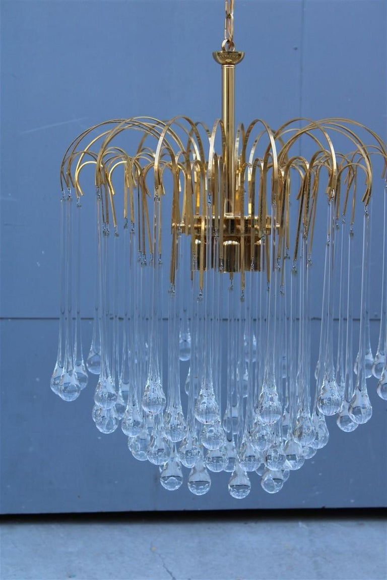 Mid-Century Modern Round Venini Style Big Drops Gold Structure Chandelier Italian Design, 1960s For Sale