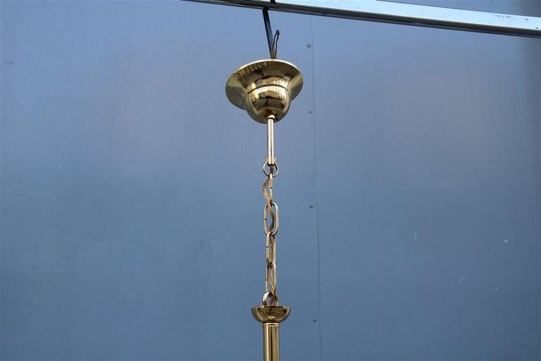 Mid-20th Century Round Venini Style Big Drops Gold Structure Chandelier Italian Design, 1960s For Sale