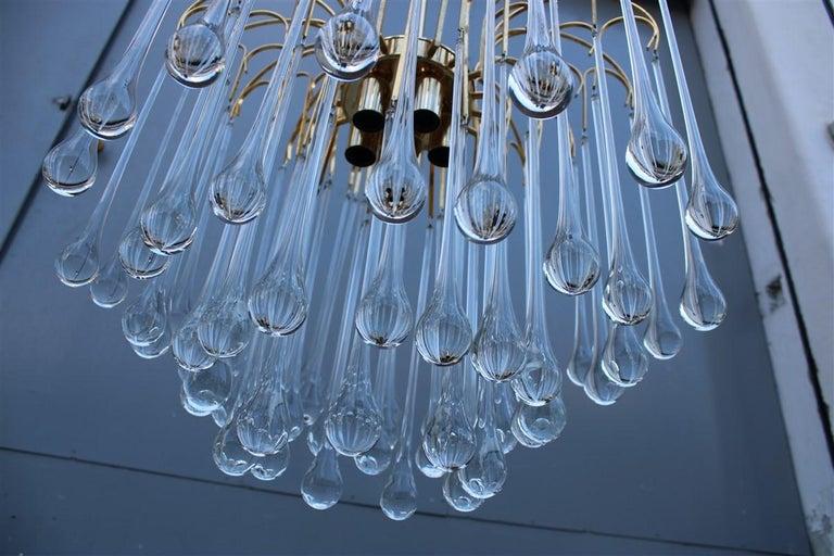 Round Venini Style Big Drops Gold Structure Chandelier Italian Design, 1960s For Sale 2