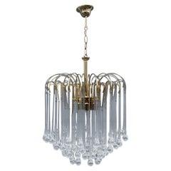 Round Venini Style Big Drops Gold Structure Chandelier Italian Design, 1960s