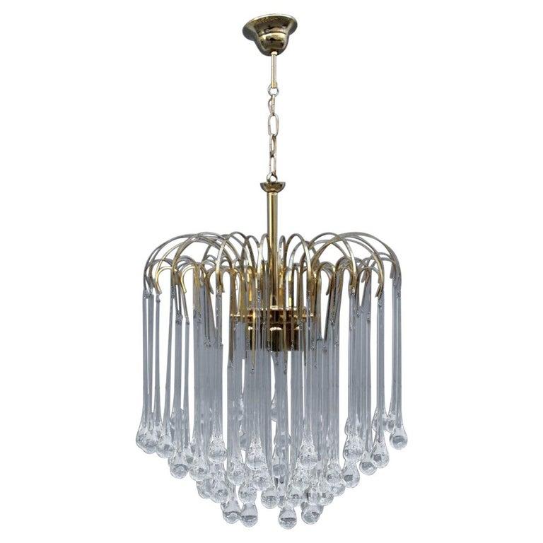 Round Venini Style Big Drops Gold Structure Chandelier Italian Design, 1960s For Sale