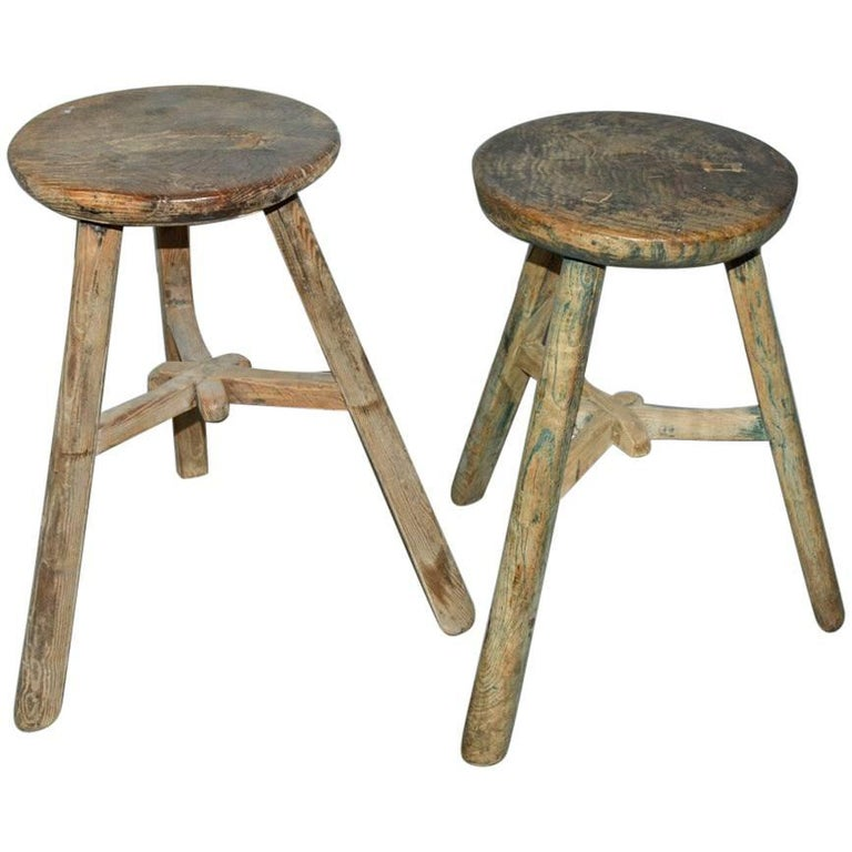 Round Vintage Asian Wood Stools Sold Singly For Sale At