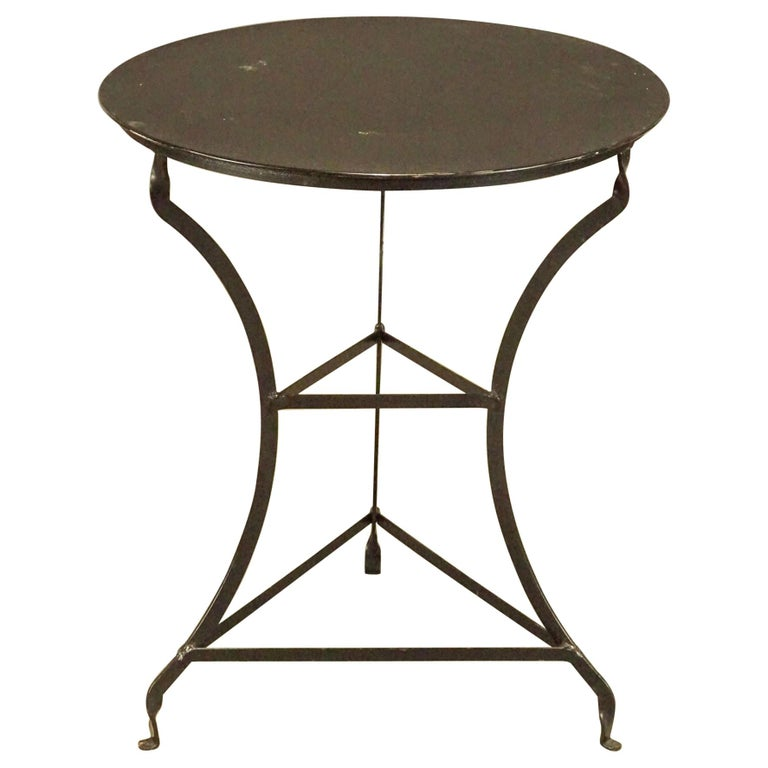 Round Vintage Metal Top Bistro Table For Sale
