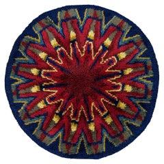 Round Vintage Red & Blue Rya Swedish Starburst Design Rug, 1950-1970