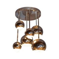 Round Vintage Space Age Six-Light Chrome Ball Ceiling Light Fixture Flush Mount