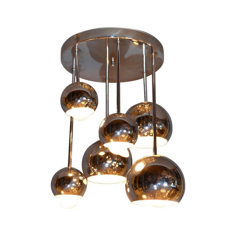 Round Vintage Space Age Six Light, Light Fixture Ceiling Mount
