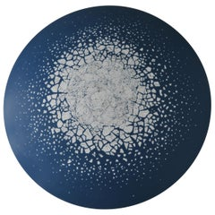 Round Wall Art Sculpture of Lacquered Pearwood and Eggshell, Sea Ice