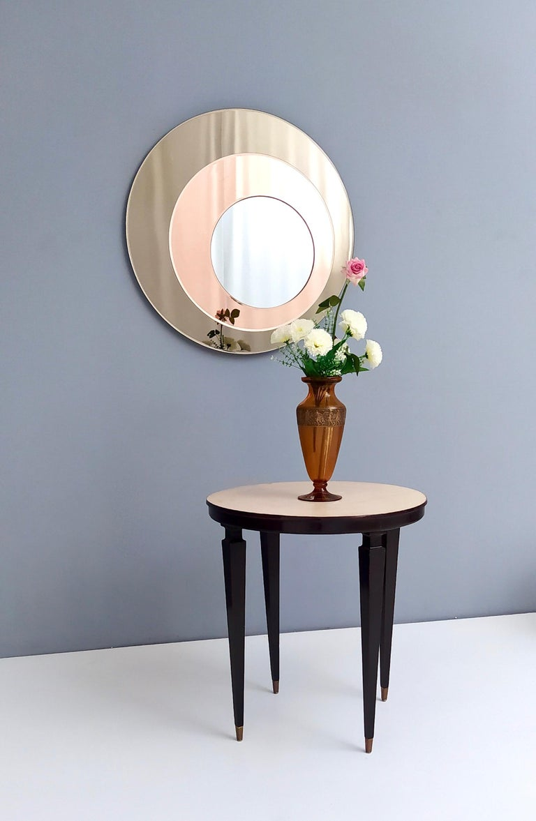 Modern Round Wall Mirror by Rimadesio with a Bronze and Old Rose Mirrored Frame, 1970s For Sale