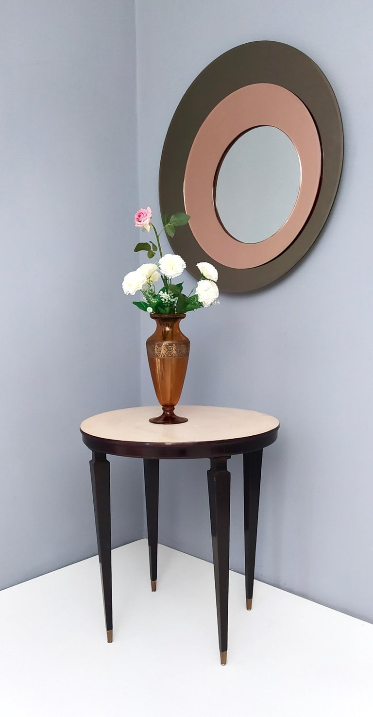 Italian Round Wall Mirror by Rimadesio with a Bronze and Old Rose Mirrored Frame, 1970s For Sale