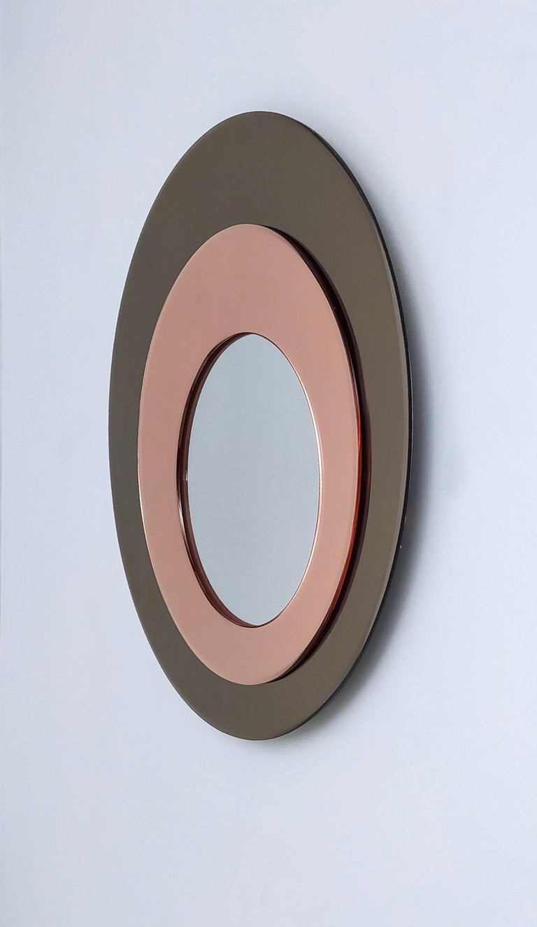 Late 20th Century Round Wall Mirror by Rimadesio with a Bronze and Old Rose Mirrored Frame, 1970s For Sale
