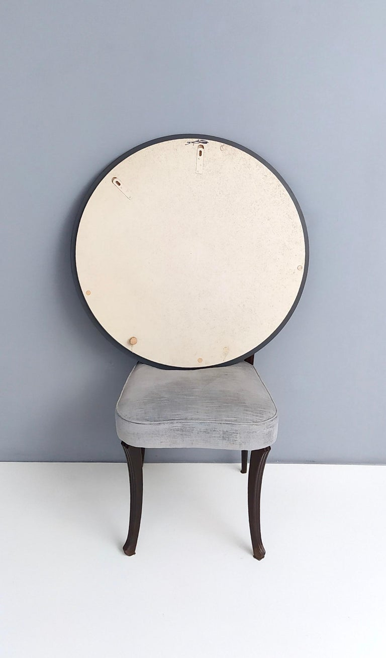 Round Wall Mirror by Rimadesio with a Bronze and Old Rose Mirrored Frame, 1970s For Sale 1