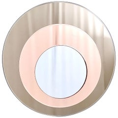 Round Wall Mirror by Rimadesio with a Bronze and Old Rose Mirrored Frame, 1970s