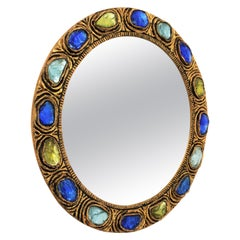 Round Wall Mirror with Blue, Yellow and Turquoise Rock Crystals