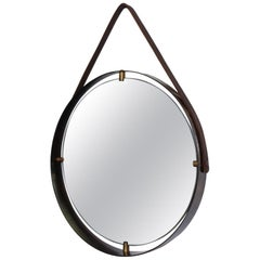 Round Wall Mirror Leather Frame in Ebonized Bronze Modern Jacques Adnet Design