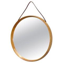 Round Wall Mirror Uno & Östen Kristiansson Luxus Oak Leather Wood Sweden 1960s