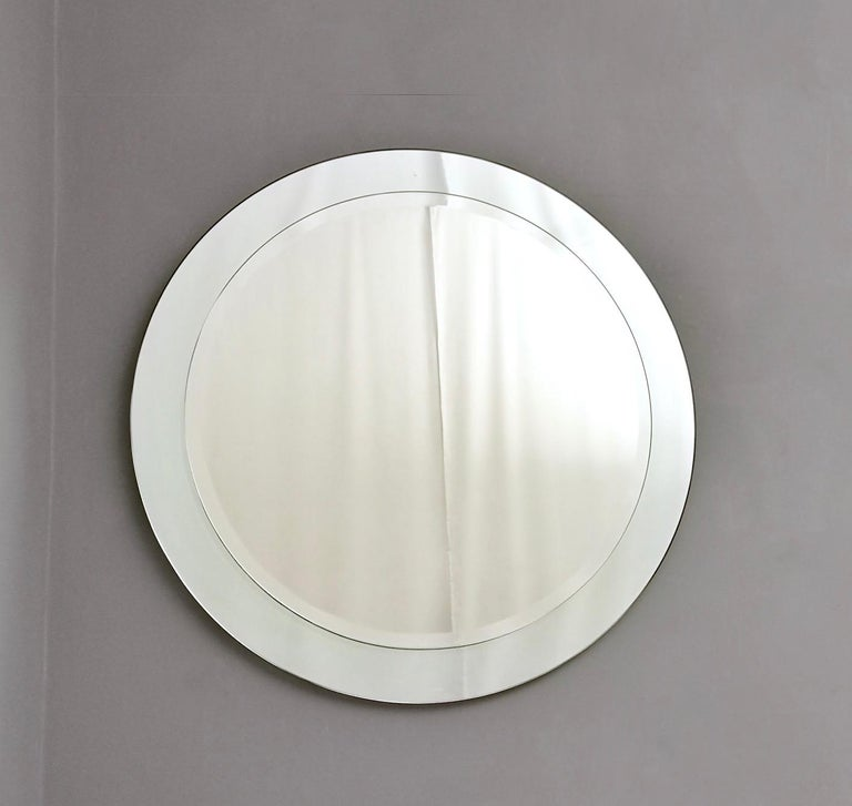 Mid-Century Modern Round Wall Mirror with Beveled Mirror Frame, Italy, 1960s For Sale
