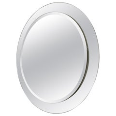 Round Wall Mirror with Beveled Mirror Frame, Italy, 1960s
