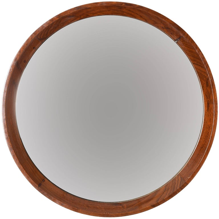 Round Wall Mirror with Walnut Frame, Italy, 1970s