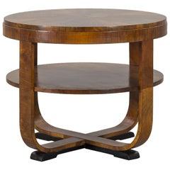 Round Walnut Art Deco Style Side Table with Ebonized Feet