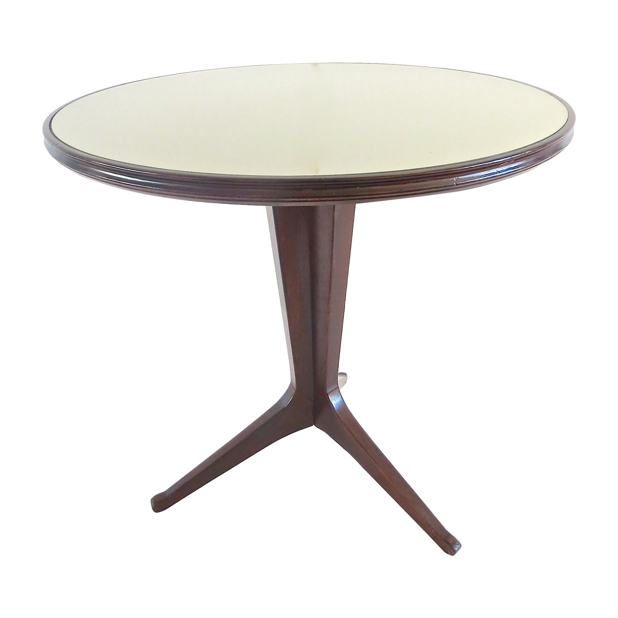 Round Walnut Center Table Attributed to Ico Parisi, 1950