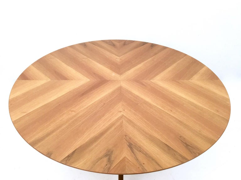 74d7cb018946 Round Walnut Dining Table in 1950s Style