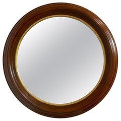 Round Walnut Framed Mirror, American, circa 1870