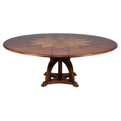 Round Walnut Jupe Extension Dining Table